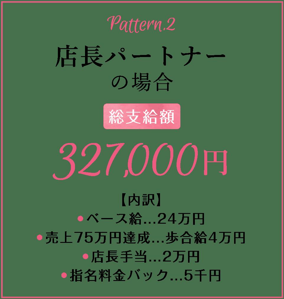 店長パートナーの場合の給与総支給額327,000円